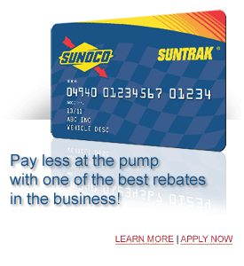 SunTrak Fleet Card, rebates up to 3 percent of total monthly fuel purchases, competitive rebates, increased security and fraud prevention, comprehensive monthly reporting